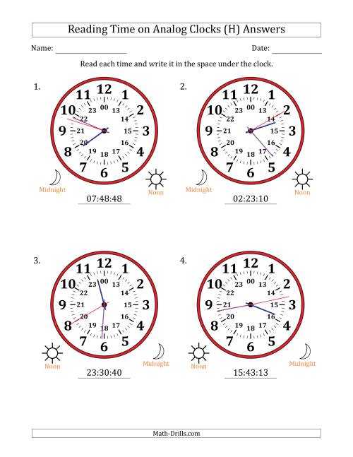 The Reading Time on 24 Hour Analog Clocks in 1 Second Intervals (Large Clocks) (H) Math Worksheet Page 2
