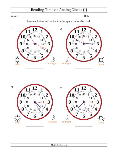 The Reading Time on 24 Hour Analog Clocks in 1 Second Intervals (Large Clocks) (I) Math Worksheet
