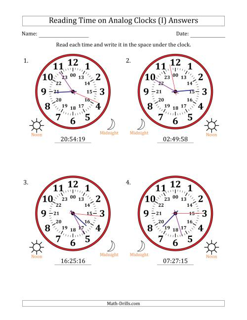 The Reading Time on 24 Hour Analog Clocks in 1 Second Intervals (Large Clocks) (I) Math Worksheet Page 2