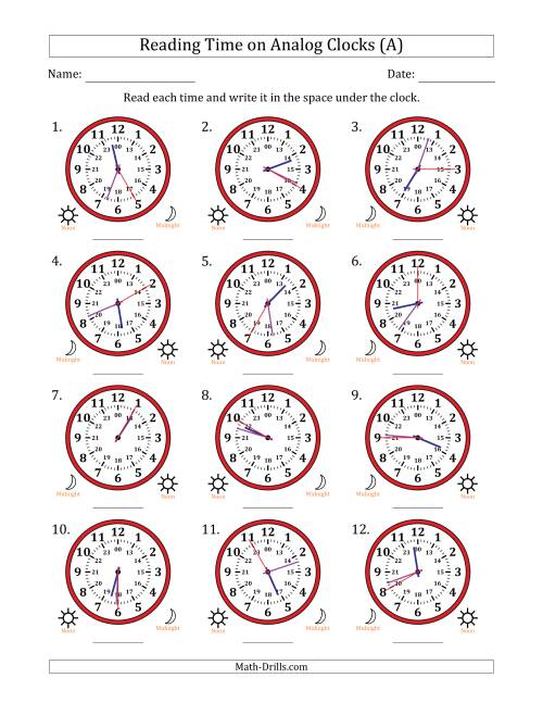 The Reading 24 Hour Time on Analog Clocks in 5 Second Intervals (12 Clocks) (A) Math Worksheet