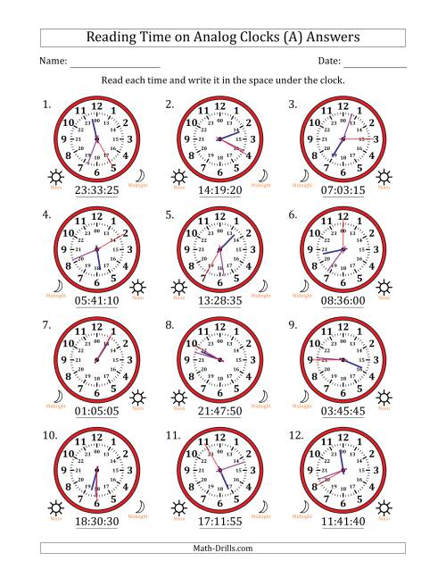 The Reading 24 Hour Time on Analog Clocks in 5 Second Intervals (12 Clocks) (A) Math Worksheet Page 2