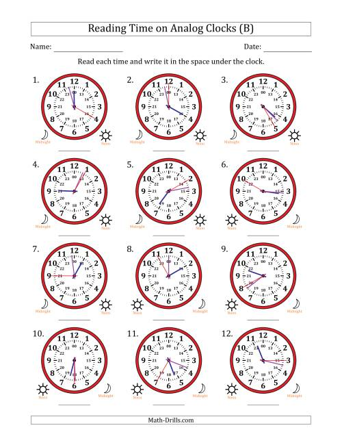 The Reading Time on 24 Hour Analog Clocks in 5 Second Intervals (B) Math Worksheet