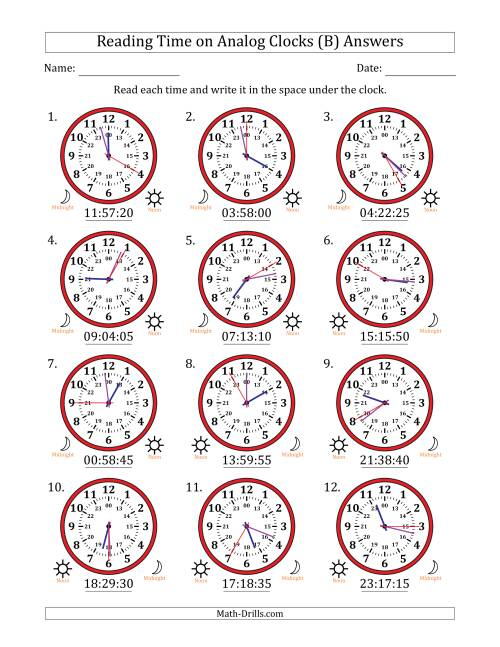 The Reading Time on 24 Hour Analog Clocks in 5 Second Intervals (B) Math Worksheet Page 2