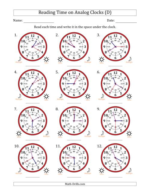 The Reading Time on 24 Hour Analog Clocks in 5 Second Intervals (D) Math Worksheet