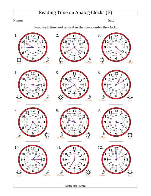 The Reading Time on 24 Hour Analog Clocks in 5 Second Intervals (E) Math Worksheet