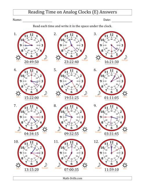 The Reading Time on 24 Hour Analog Clocks in 5 Second Intervals (E) Math Worksheet Page 2