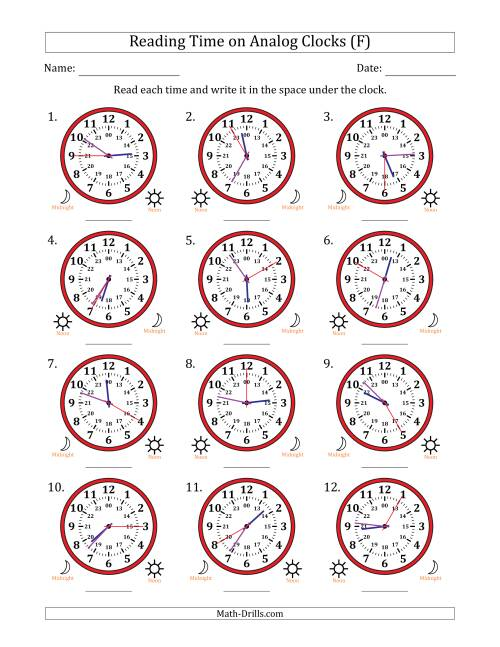 The Reading Time on 24 Hour Analog Clocks in 5 Second Intervals (F) Math Worksheet