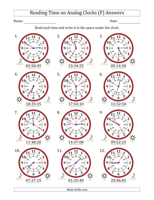 The Reading Time on 24 Hour Analog Clocks in 5 Second Intervals (F) Math Worksheet Page 2