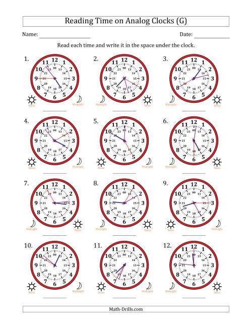 The Reading Time on 24 Hour Analog Clocks in 5 Second Intervals (G) Math Worksheet