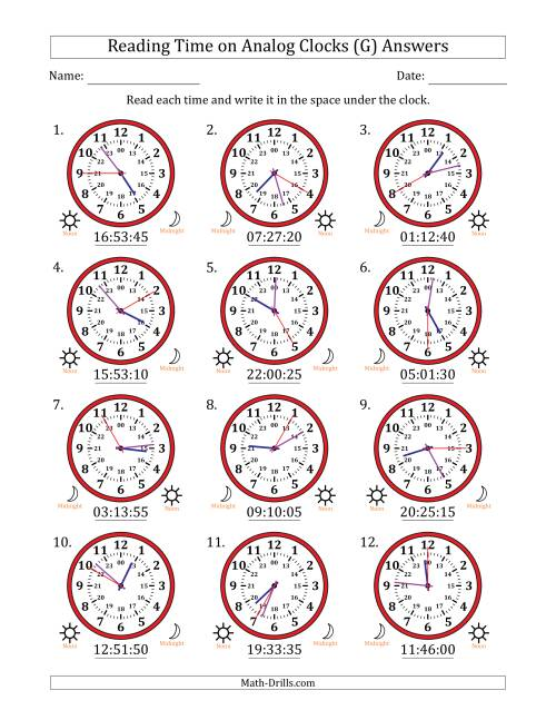 The Reading Time on 24 Hour Analog Clocks in 5 Second Intervals (G) Math Worksheet Page 2