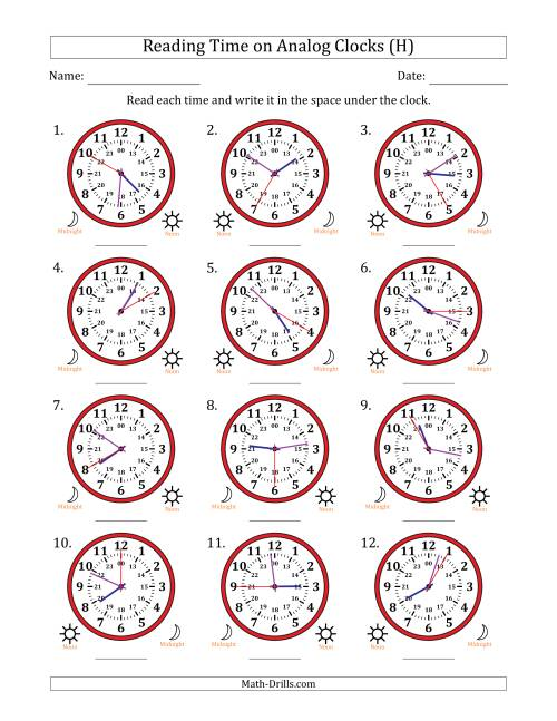 The Reading Time on 24 Hour Analog Clocks in 5 Second Intervals (H) Math Worksheet