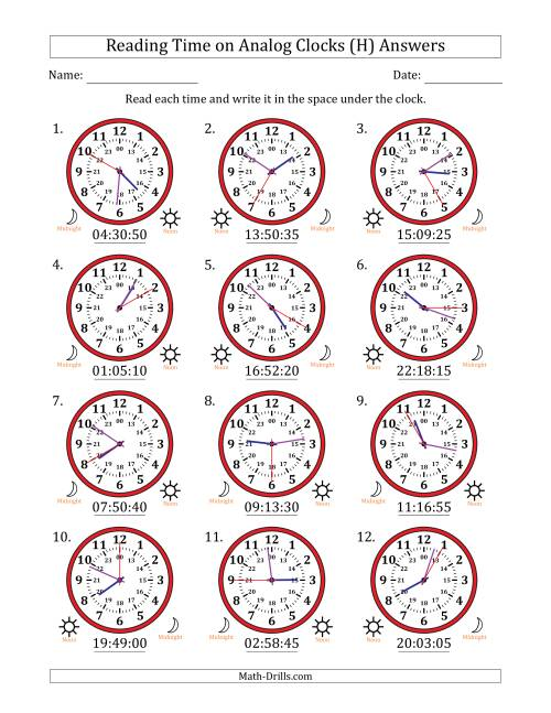 The Reading Time on 24 Hour Analog Clocks in 5 Second Intervals (H) Math Worksheet Page 2