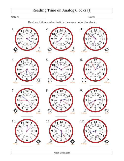The Reading Time on 24 Hour Analog Clocks in 5 Second Intervals (I) Math Worksheet