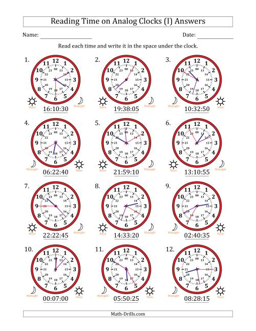 The Reading Time on 24 Hour Analog Clocks in 5 Second Intervals (I) Math Worksheet Page 2