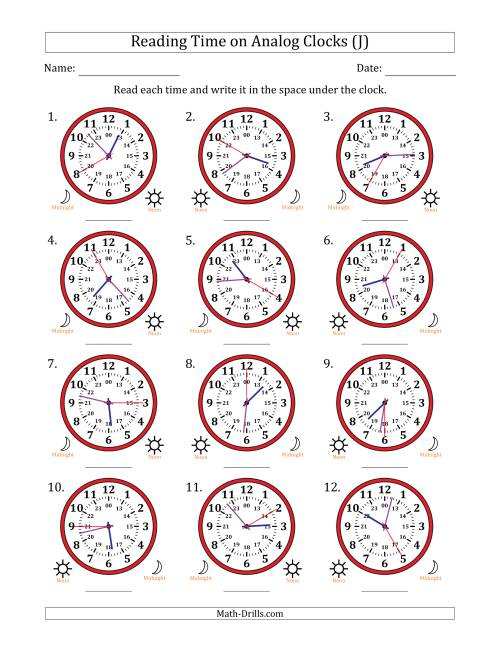 The Reading Time on 24 Hour Analog Clocks in 5 Second Intervals (J) Math Worksheet