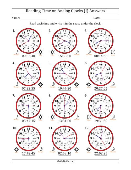 The Reading Time on 24 Hour Analog Clocks in 5 Second Intervals (J) Math Worksheet Page 2
