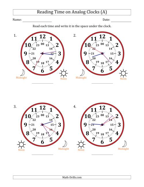 The Reading 24 Hour Time on Analog Clocks in 5 Second Intervals (4 Large Clocks) (A) Math Worksheet