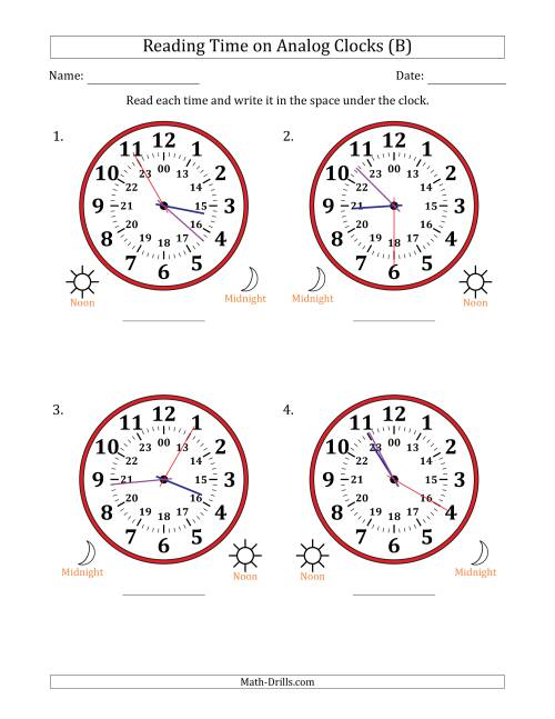 The Reading Time on 24 Hour Analog Clocks in 5 Second Intervals (Large Clocks) (B) Math Worksheet