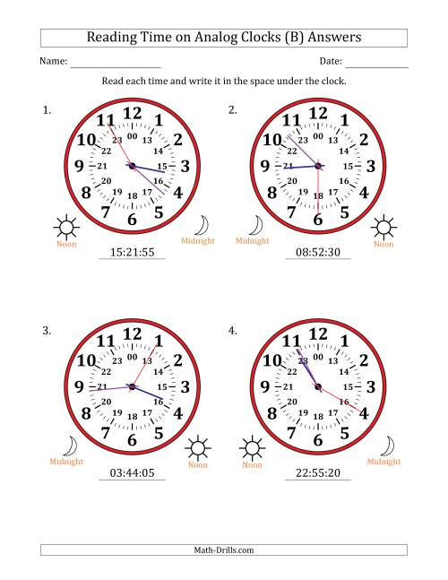 The Reading Time on 24 Hour Analog Clocks in 5 Second Intervals (Large Clocks) (B) Math Worksheet Page 2
