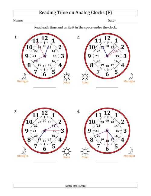 The Reading 24 Hour Time on Analog Clocks in 5 Second Intervals (4 Large Clocks) (F) Math Worksheet