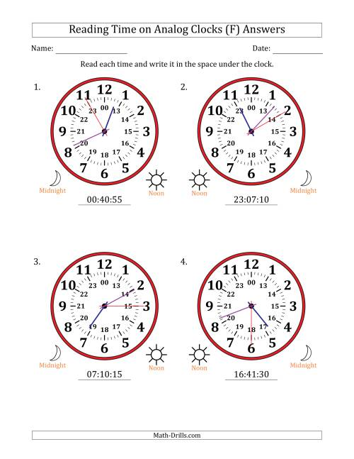 The Reading Time on 24 Hour Analog Clocks in 5 Second Intervals (Large Clocks) (F) Math Worksheet Page 2