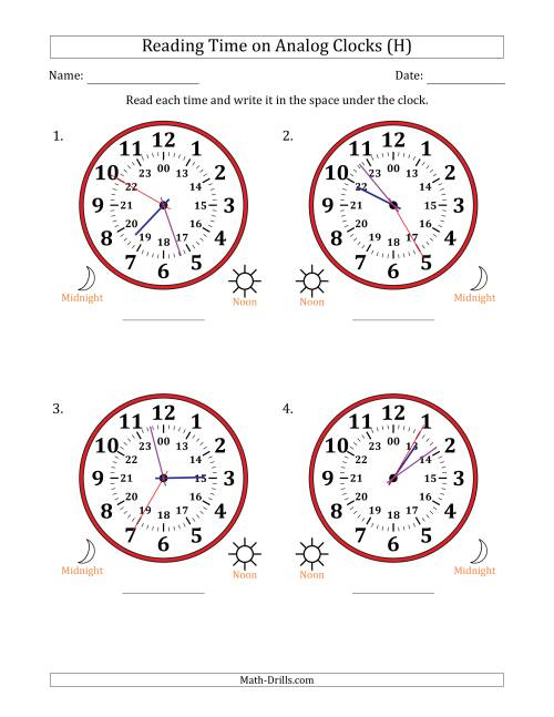 The Reading 24 Hour Time on Analog Clocks in 5 Second Intervals (4 Large Clocks) (H) Math Worksheet