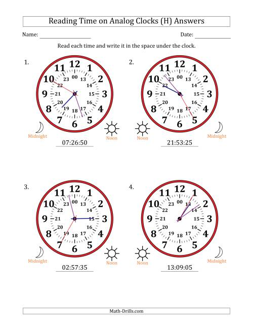 The Reading 24 Hour Time on Analog Clocks in 5 Second Intervals (4 Large Clocks) (H) Math Worksheet Page 2