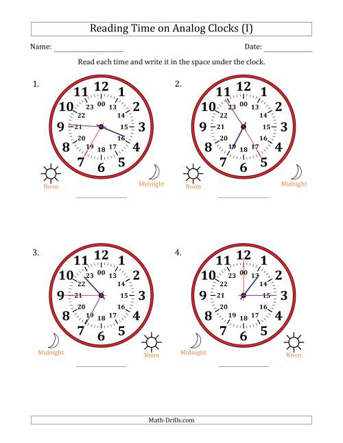 The Reading Time on 24 Hour Analog Clocks in 5 Second Intervals (Large Clocks) (I) Math Worksheet