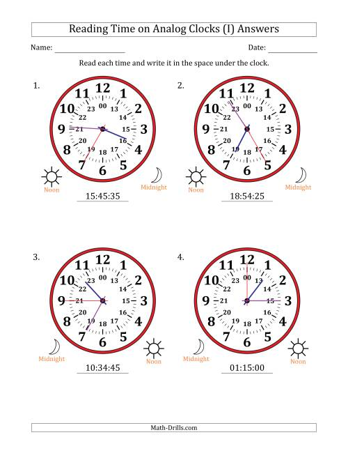 The Reading Time on 24 Hour Analog Clocks in 5 Second Intervals (Large Clocks) (I) Math Worksheet Page 2