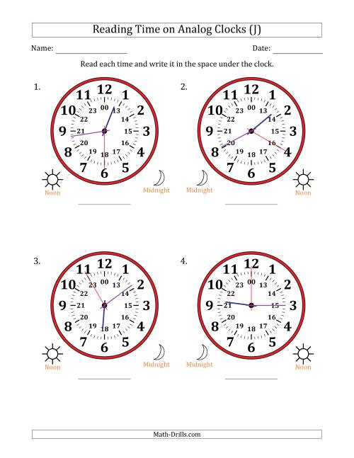 The Reading Time on 24 Hour Analog Clocks in 5 Second Intervals (Large Clocks) (J) Math Worksheet