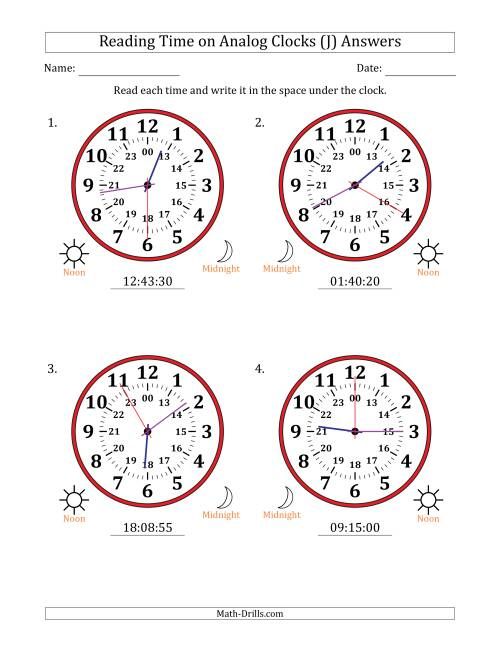 The Reading Time on 24 Hour Analog Clocks in 5 Second Intervals (Large Clocks) (J) Math Worksheet Page 2