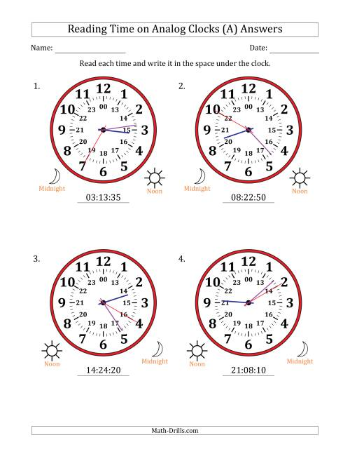 The Reading Time on 24 Hour Analog Clocks in 5 Second Intervals (Large Clocks) (All) Math Worksheet Page 2