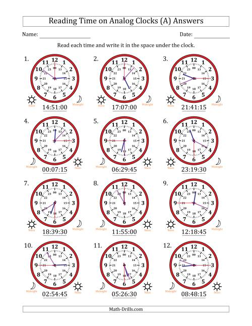 The Reading Time on 24 Hour Analog Clocks in 15 Second Intervals (A) Math Worksheet Page 2