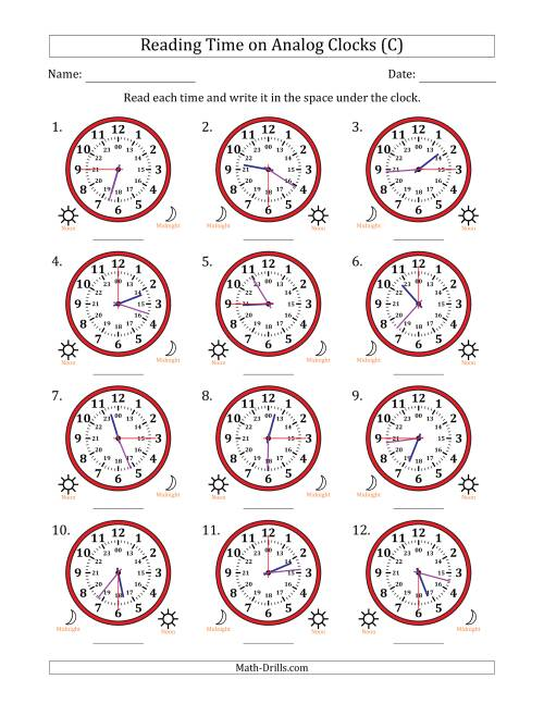 The Reading 24 Hour Time on Analog Clocks in 15 Second Intervals (12 Clocks) (C) Math Worksheet