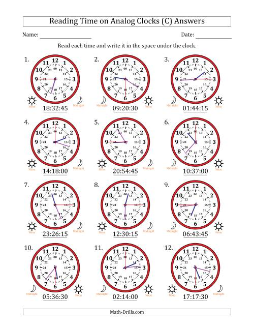 The Reading Time on 24 Hour Analog Clocks in 15 Second Intervals (C) Math Worksheet Page 2