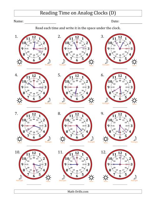 The Reading Time on 24 Hour Analog Clocks in 15 Second Intervals (D) Math Worksheet