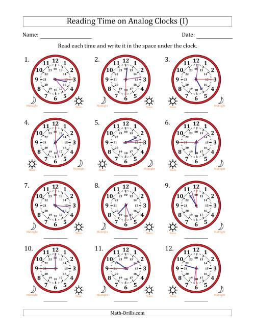 The Reading Time on 24 Hour Analog Clocks in 15 Second Intervals (I) Math Worksheet
