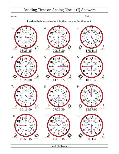 The Reading Time on 24 Hour Analog Clocks in 15 Second Intervals (I) Math Worksheet Page 2