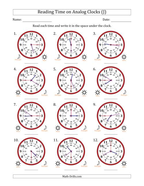 The Reading 24 Hour Time on Analog Clocks in 15 Second Intervals (12 Clocks) (J) Math Worksheet
