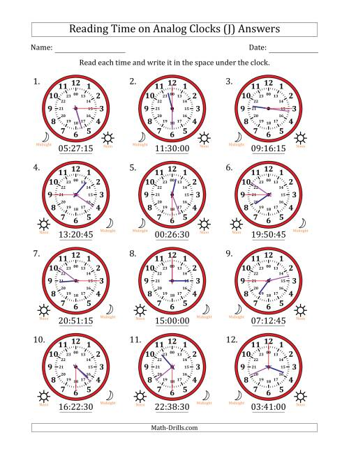 The Reading 24 Hour Time on Analog Clocks in 15 Second Intervals (12 Clocks) (J) Math Worksheet Page 2