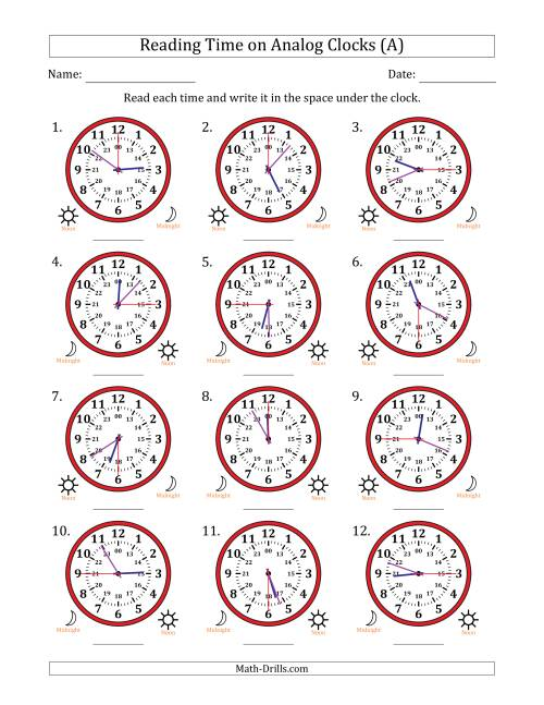 The Reading 24 Hour Time on Analog Clocks in 15 Second Intervals (12 Clocks) (All) Math Worksheet
