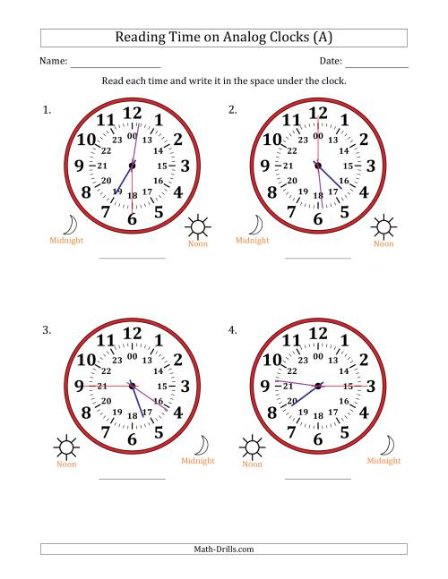 The Reading Time on 24 Hour Analog Clocks in 15 Second Intervals (Large Clocks) (A)