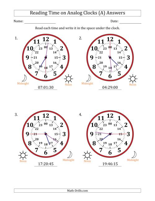 The Reading Time on 24 Hour Analog Clocks in 15 Second Intervals (Large Clocks) (A) Math Worksheet Page 2