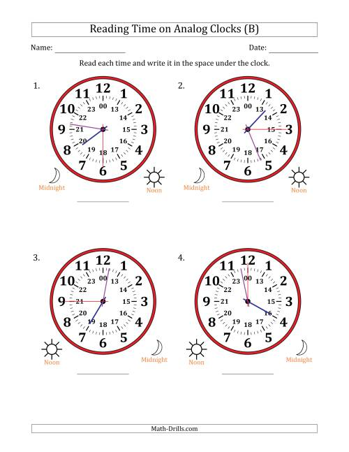 The Reading Time on 24 Hour Analog Clocks in 15 Second Intervals (Large Clocks) (B) Math Worksheet