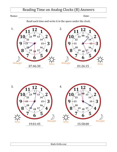 The Reading Time on 24 Hour Analog Clocks in 15 Second Intervals (Large Clocks) (B) Math Worksheet Page 2
