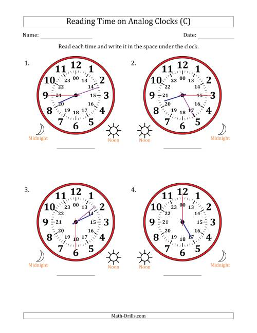 The Reading Time on 24 Hour Analog Clocks in 15 Second Intervals (Large Clocks) (C) Math Worksheet