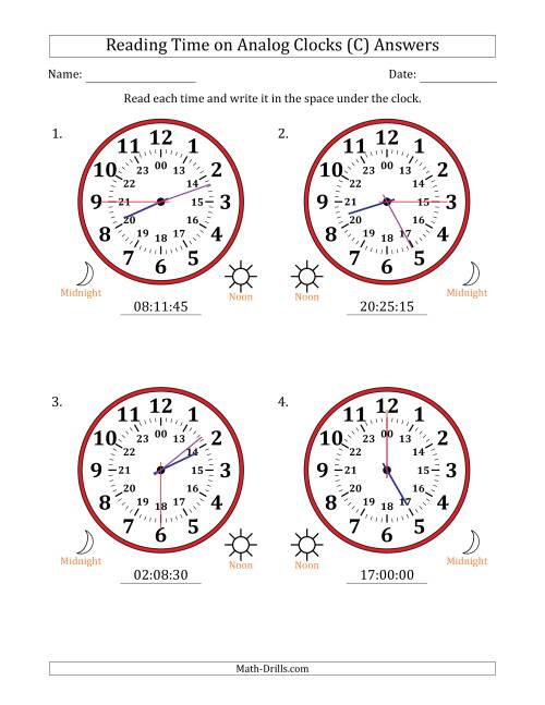 The Reading Time on 24 Hour Analog Clocks in 15 Second Intervals (Large Clocks) (C) Math Worksheet Page 2