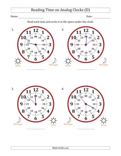 The Reading Time on 24 Hour Analog Clocks in 15 Second Intervals (Large Clocks) (D) Math Worksheet
