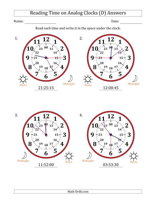 The Reading Time on 24 Hour Analog Clocks in 15 Second Intervals (Large Clocks) (D) Math Worksheet Page 2
