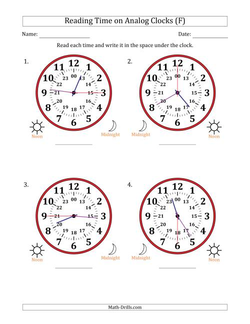 The Reading Time on 24 Hour Analog Clocks in 15 Second Intervals (Large Clocks) (F) Math Worksheet
